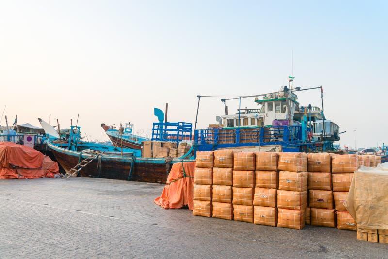 Cargo port in Dubai Creek, United Arab Emirates stock photo