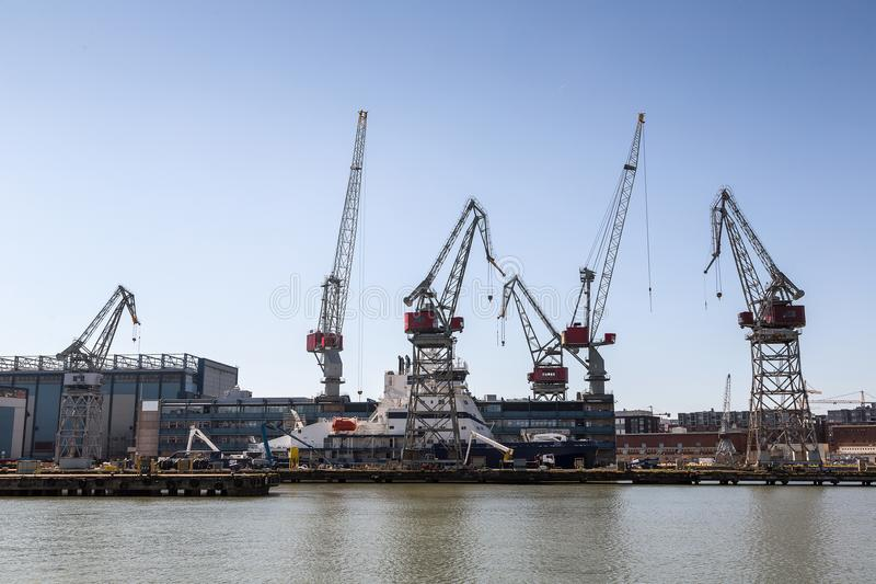Cargo port in Helsinki royalty free stock images