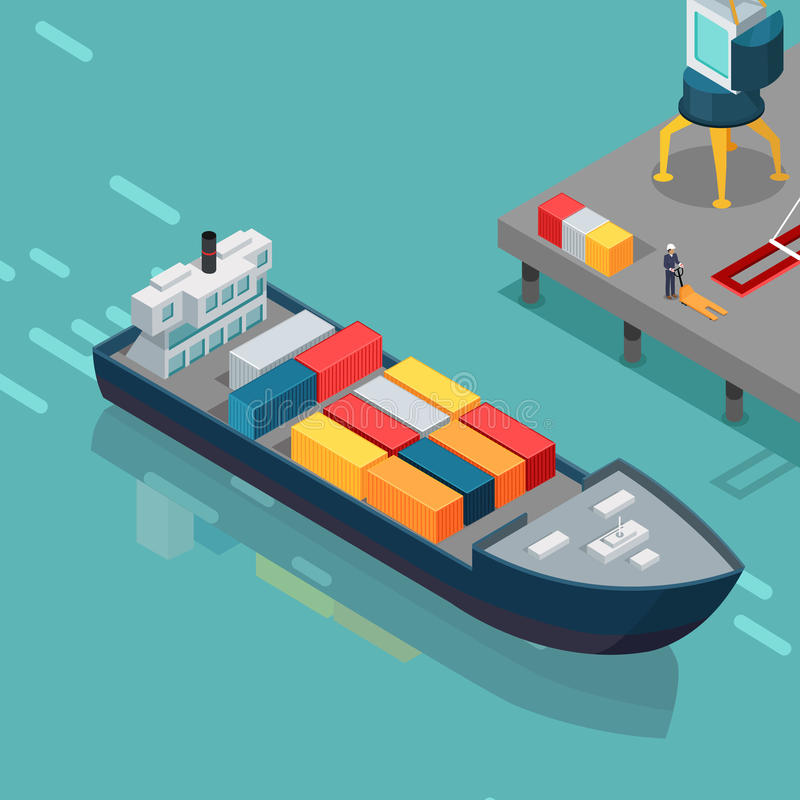 Cargo Port Illustration in Isometric Projection. Cargo port vector illustration. Isometric projection. Big ship with steel containers standing on the berth at vector illustration