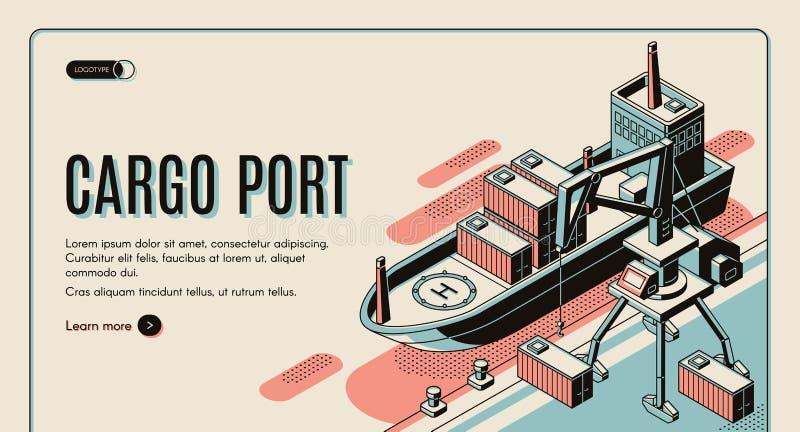 Cargo port isometric vector landing page template. Cargo port isometric vector web banner template. Handling gantry crane on quay loading, unloading shipping royalty free illustration