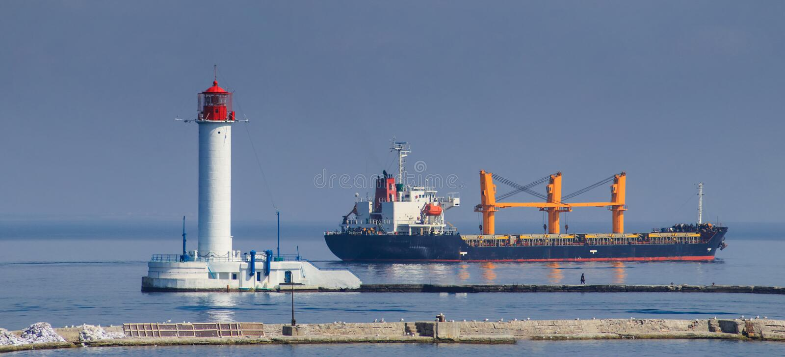 Cargo port Marine cargo ship loaded with shipping royalty free stock image