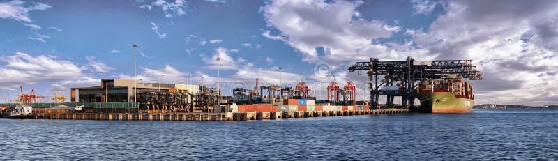 Cargo port panoramic view stock image