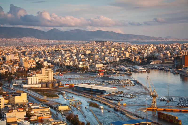 Cargo port in Piraeus, Athens. stock photo