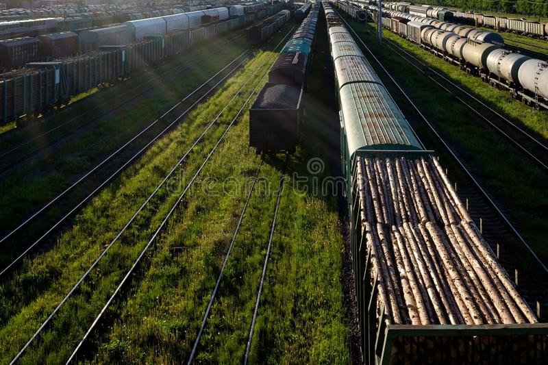 Cargo railway transportation industry. Railway yard from top view. Horizontal view royalty free stock photos
