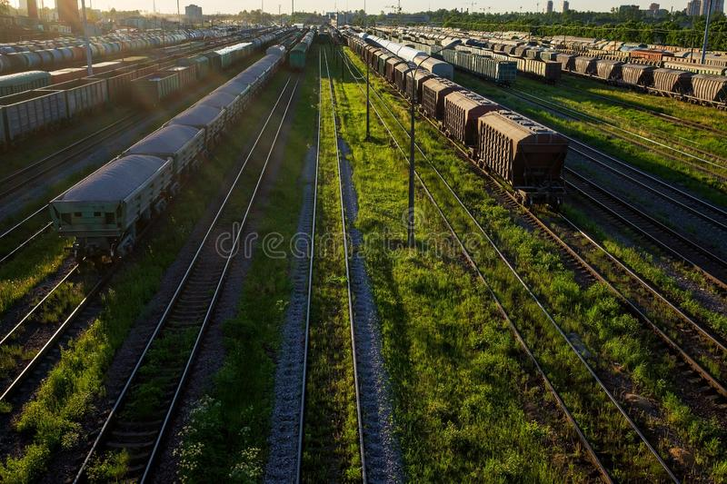 Cargo railway transportation industry. Railway yard from top view. Horizontal view royalty free stock image