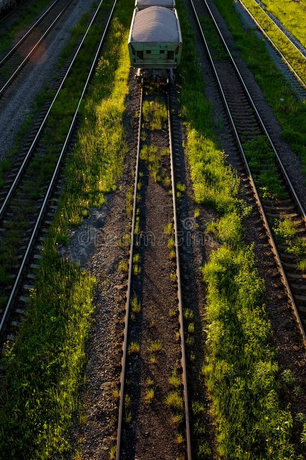 Cargo railway transportation industry. Railway yard from top view. Vertical orientation royalty free stock image