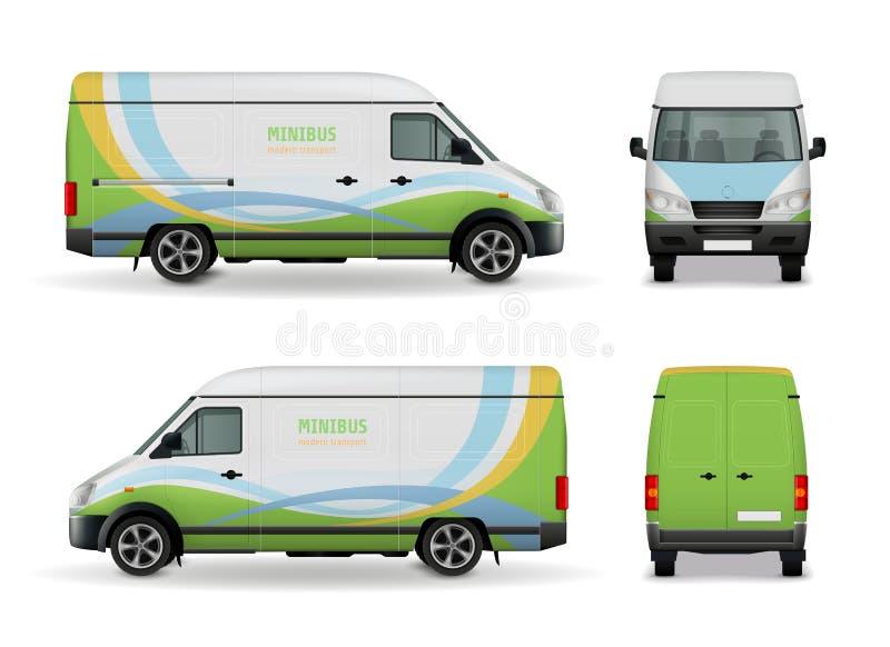 Cargo realista Van Advertising Design Mockup stock de ilustración