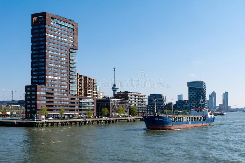 The banks of the New Meuse in Rotterdam in the Netherlands stock image