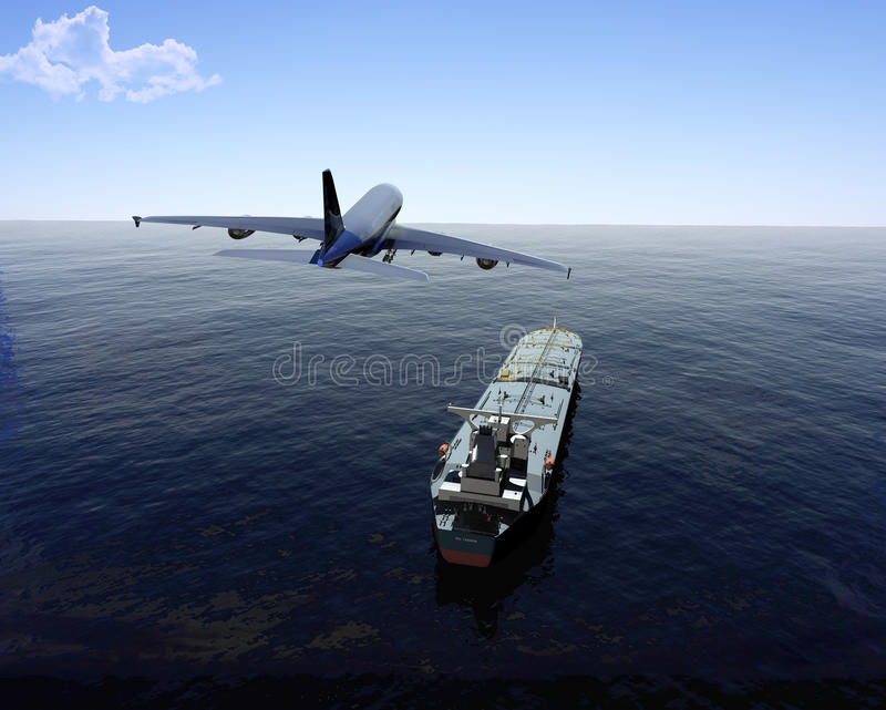 The cargo ship. And plane on a background of the sea stock illustration
