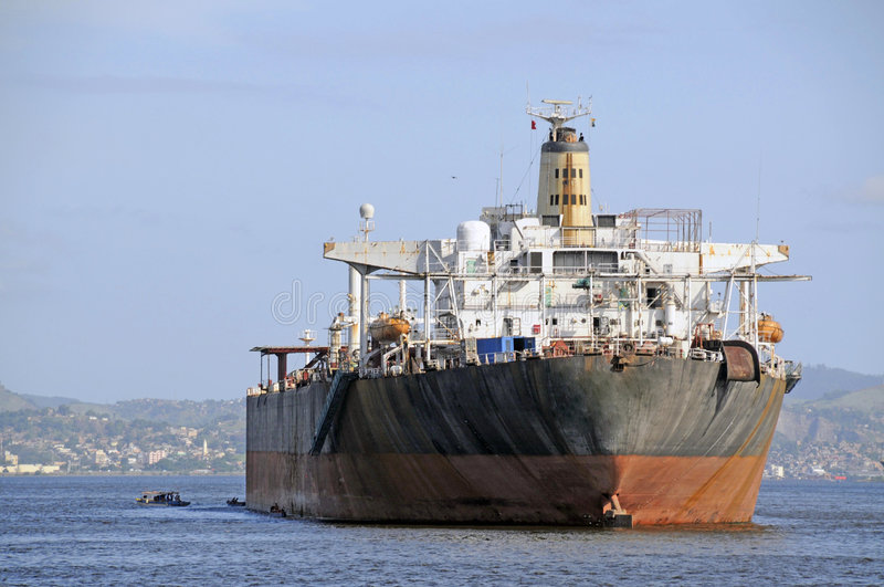 Cargo Ship. An oil tanker anchored in the bay royalty free stock photo