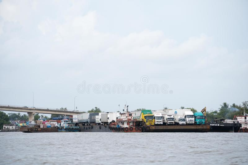 Cargo ship in asia royalty free stock photography