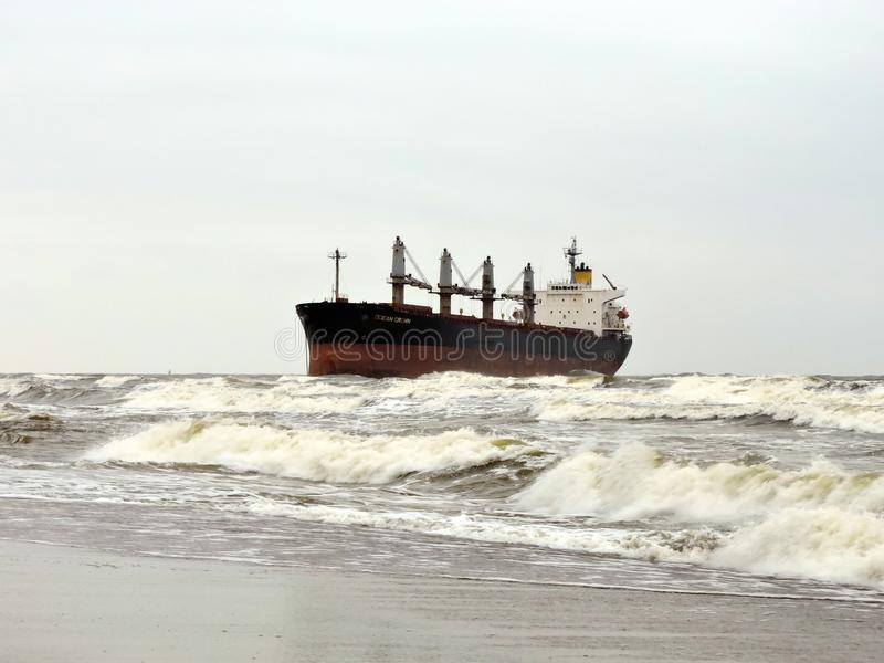 Cargo ship in Baltic sea near Klaipeda port, Lithuania royalty free stock images