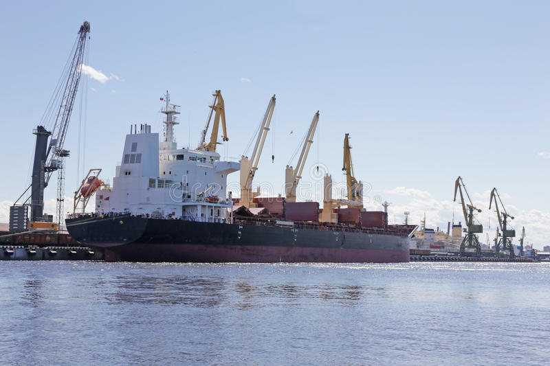 Cargo ship. Berthed at the port stock photography