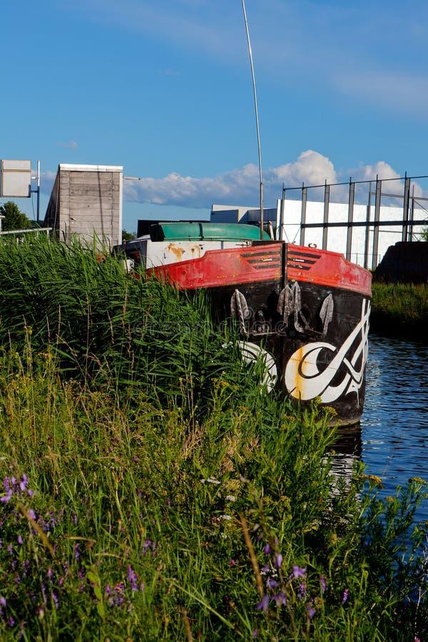 Cargo ship boat vessel, Canal Leuven Mechelen, Wijgmaal, Belgium stock photo