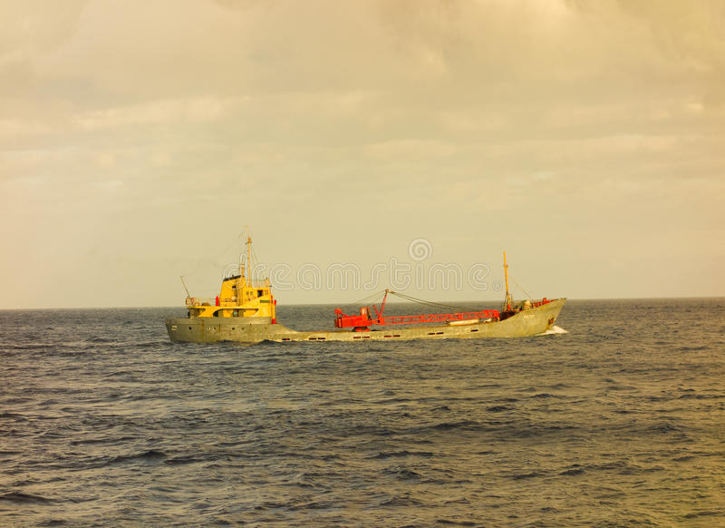 A cargo ship bound for st. vincent in the grenadine islands stock images