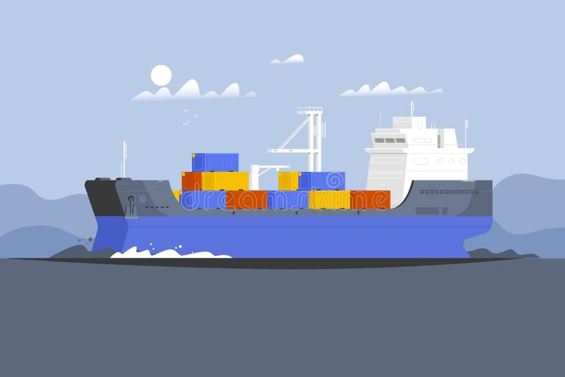 Cargo ship container in the ocean transportation.Delivery service concept stock illustration