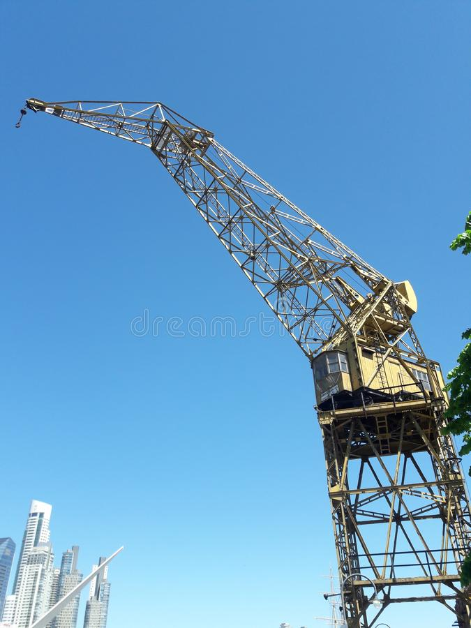 Cargo ship crane Buenos Aires Argentina. Travel, tourism stock photo