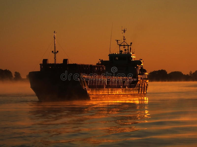 Cargo ship on Danube stock images