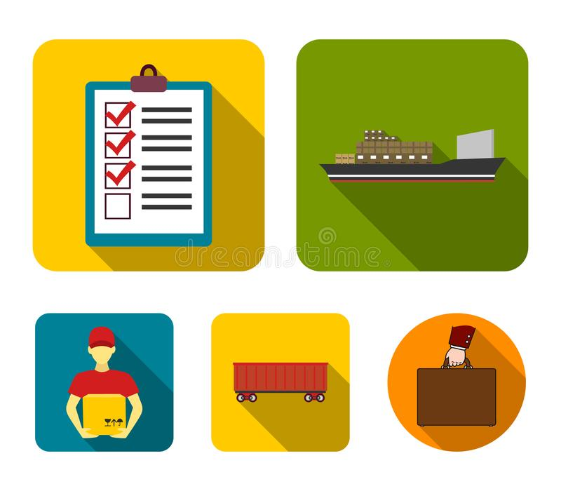Cargo ship, documents, railway car, courier with box.Logistic set collection icons in flat style vector symbol stock vector illustration