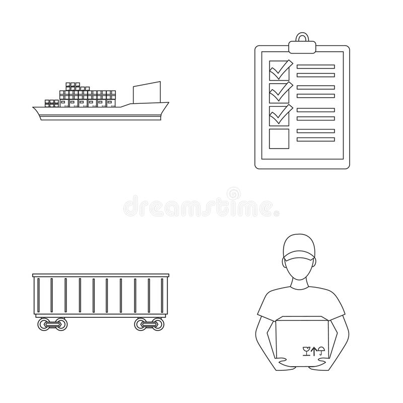 Cargo ship, documents, railway car, courier with box.Logistic set collection icons in outline style vector symbol stock stock illustration
