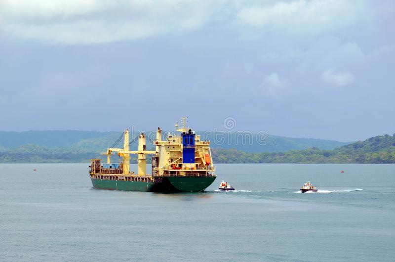 Cargo ship entering Panama Canal in the Cristobal, Panama royalty free stock images