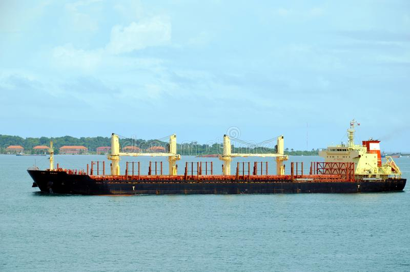 Cargo ship entering Panama Canal in the Cristobal, Panama stock photo