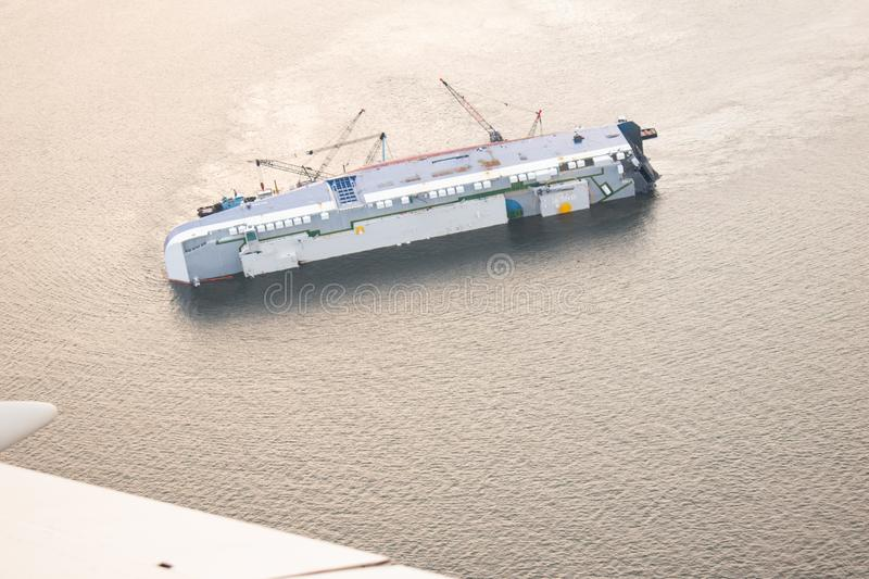 Golden Ray, Capsized in St Simons Sound stock images