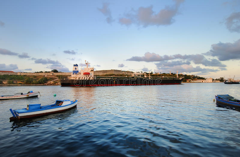 Cargo Ship In Havana Bay, Cuba Stock Image