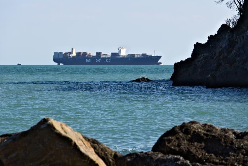 A cargo ship on the horizon in the green sea royalty free stock photos