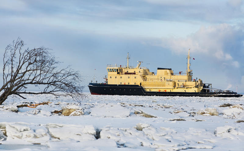 Download Cargo ship on the ice sea stock image. Image of business - 28900121