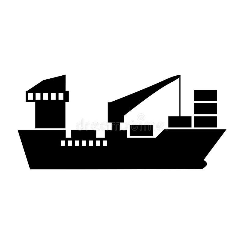 Cargo ship icon. Vector isolated on white background stock illustration