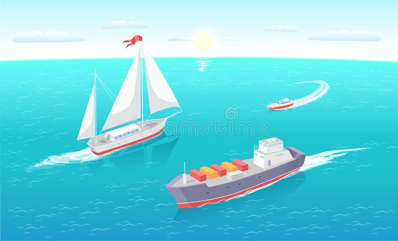 Cargo Ship Leaves Trace in Sea Marine Vessels Sea vector illustration