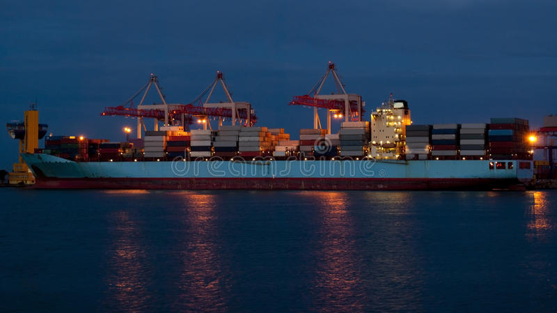 Download Cargo Ship On Loading In The Port Stock Image - Image of pier, crane: 16759949