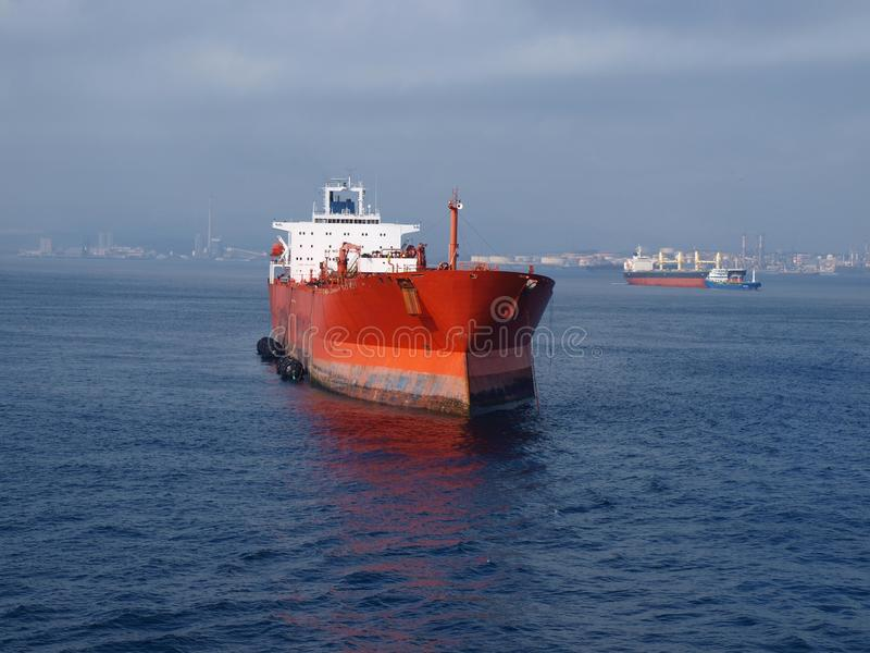 Cargo Ship in the Mediterranean stock photos