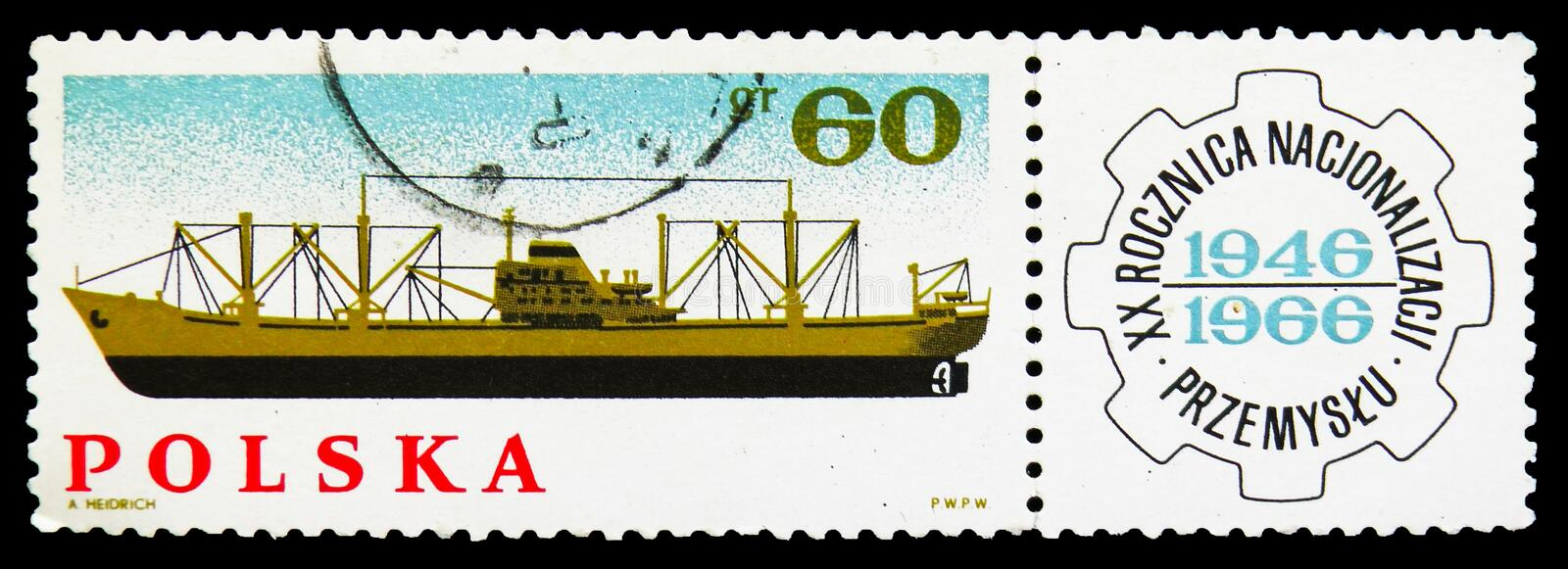 Cargo Ship, Nationalization of Polish Industry, 20th Anniversary serie, circa 1966. MOSCOW, RUSSIA - SEPTEMBER 15, 2018: A stamp printed in Poland shows Cargo vector illustration