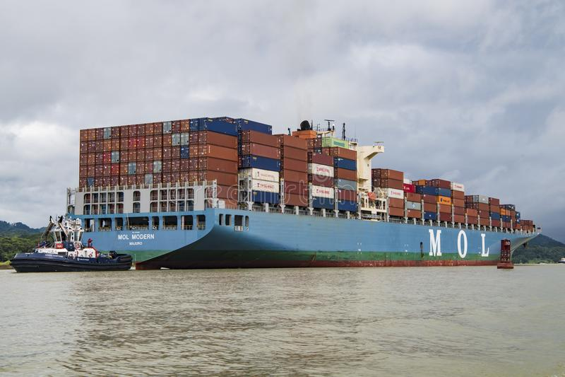 Cargo ship Panama Canal stock photography