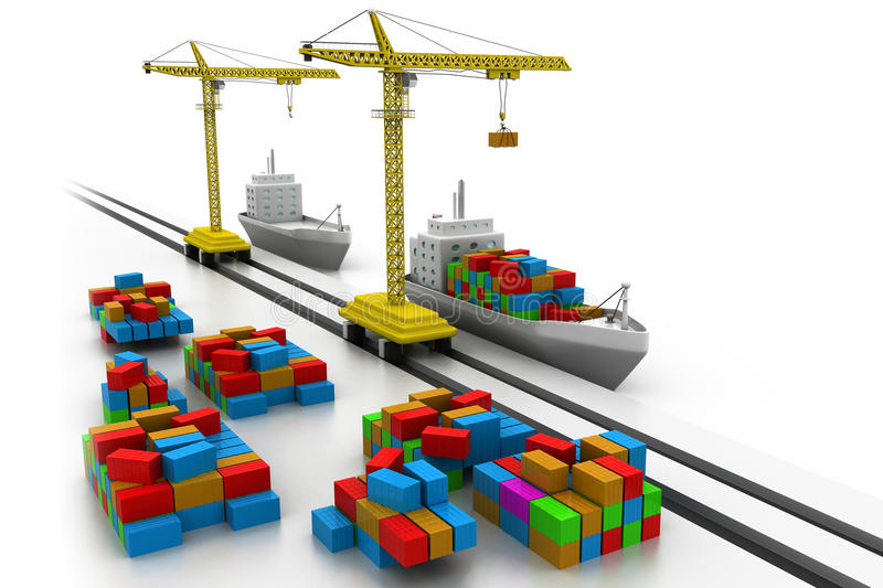 Cargo ship at the port stock illustration