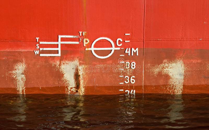 Cargo ship red hull texture royalty free stock images