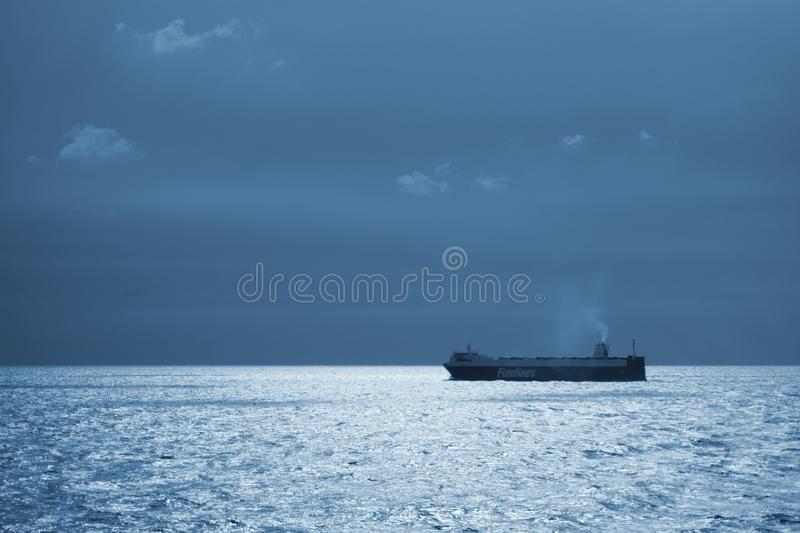Cargo ship sailing in the Baltic Sea royalty free stock photography