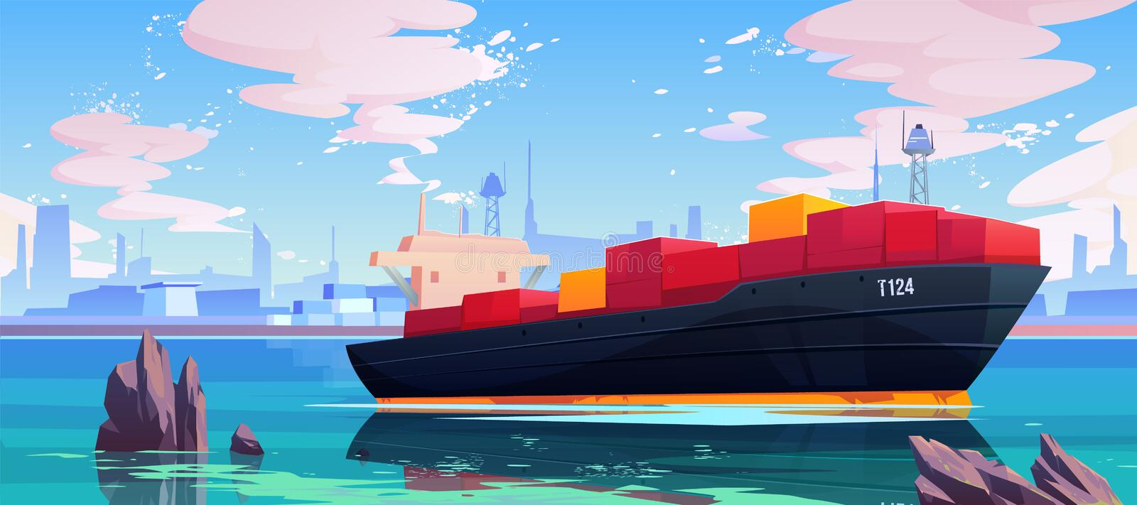 Cargo ship in sea port dock, industrial vessel. With containers freight in harbor shipyard, goods import and export maritime logistic service Commercial ocean royalty free illustration