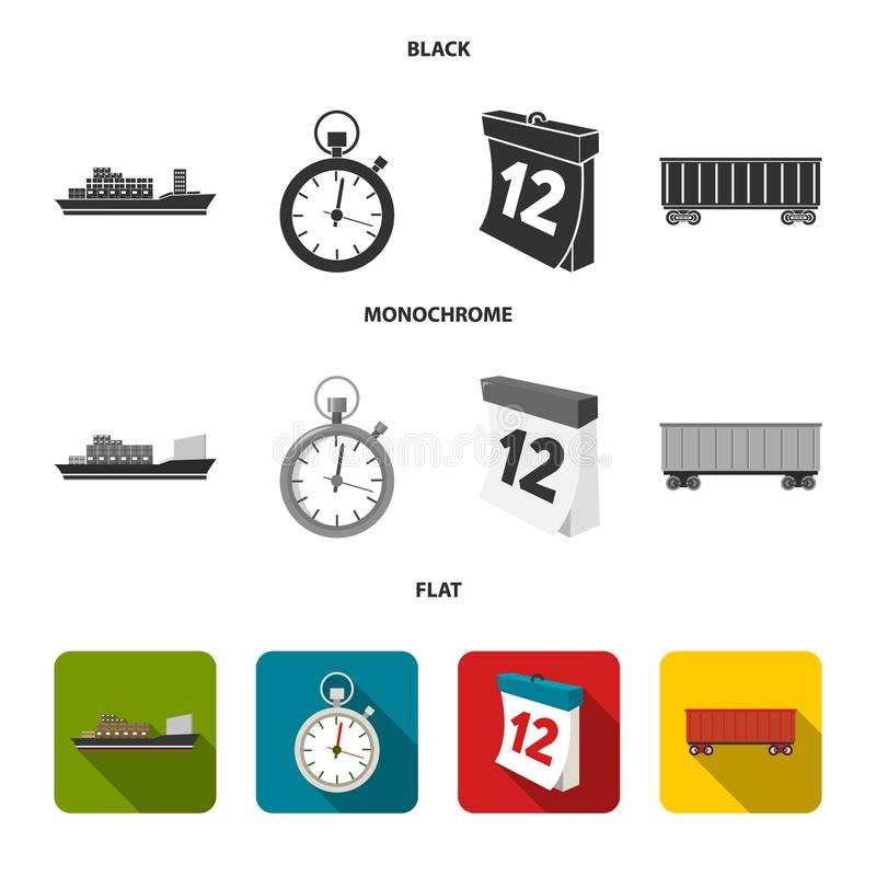 Cargo ship, stop watch, calendar, railway car.Logistic,set collection icons in black, flat, monochrome style vector. Symbol stock illustration stock illustration