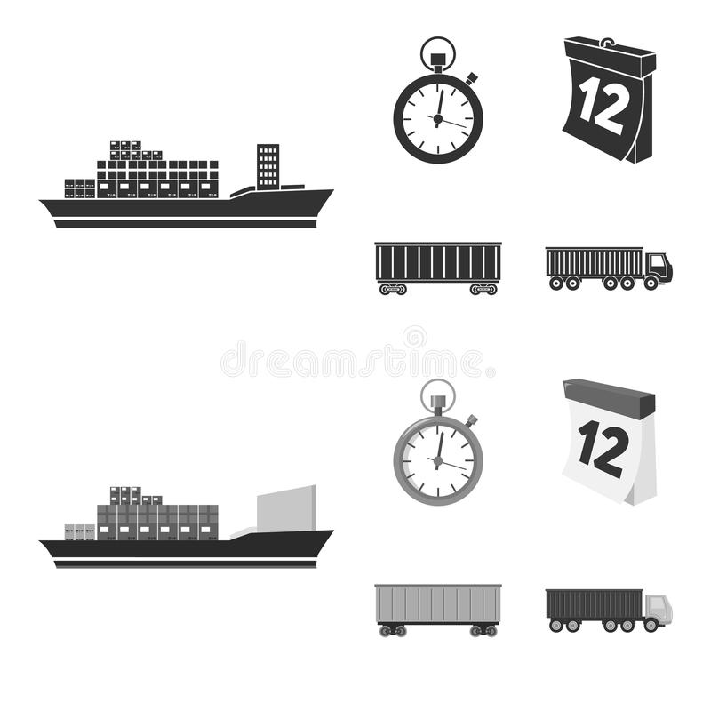 Cargo ship, stop watch, calendar, railway car.Logistic,set collection icons in black,monochrome style vector symbol. Stock illustration royalty free illustration