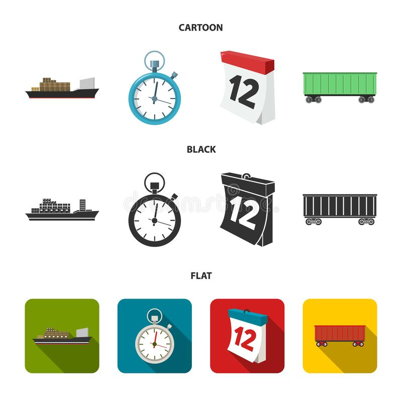 Cargo ship, stop watch, calendar, railway car.Logistic,set collection icons in cartoon,black,flat style vector symbol. Stock illustration royalty free illustration