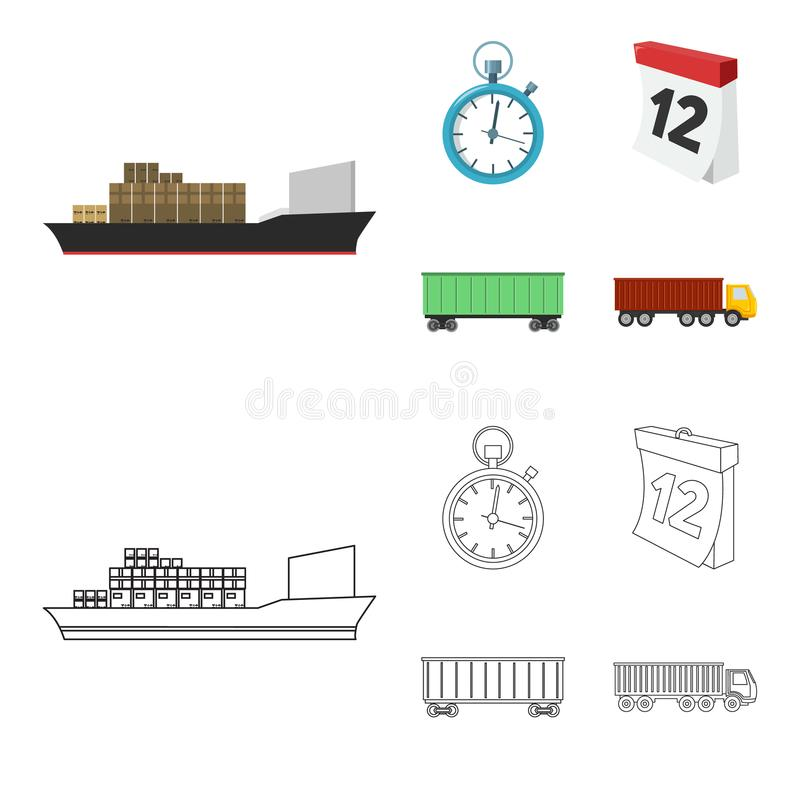 Cargo ship, stop watch, calendar, railway car.Logistic,set collection icons in cartoon,outline style vector symbol stock. Illustration vector illustration
