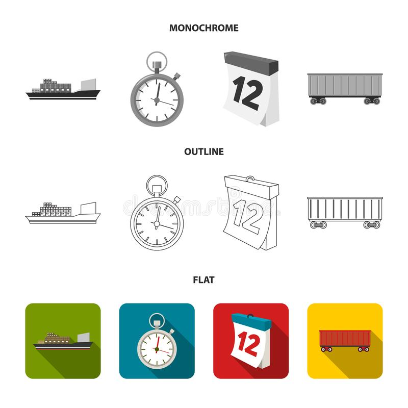 Cargo ship, stop watch, calendar, railway car.Logistic,set collection icons in flat,outline,monochrome style vector. Symbol stock illustration royalty free illustration