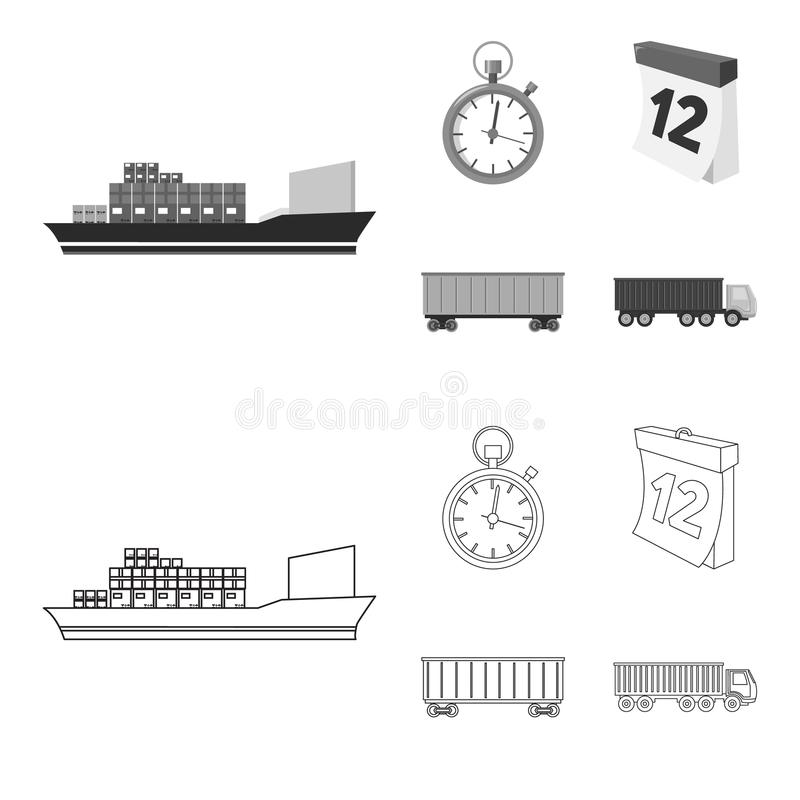 Cargo ship, stop watch, calendar, railway car.Logistic,set collection icons in outline,monochrome style vector symbol. Stock illustration royalty free illustration