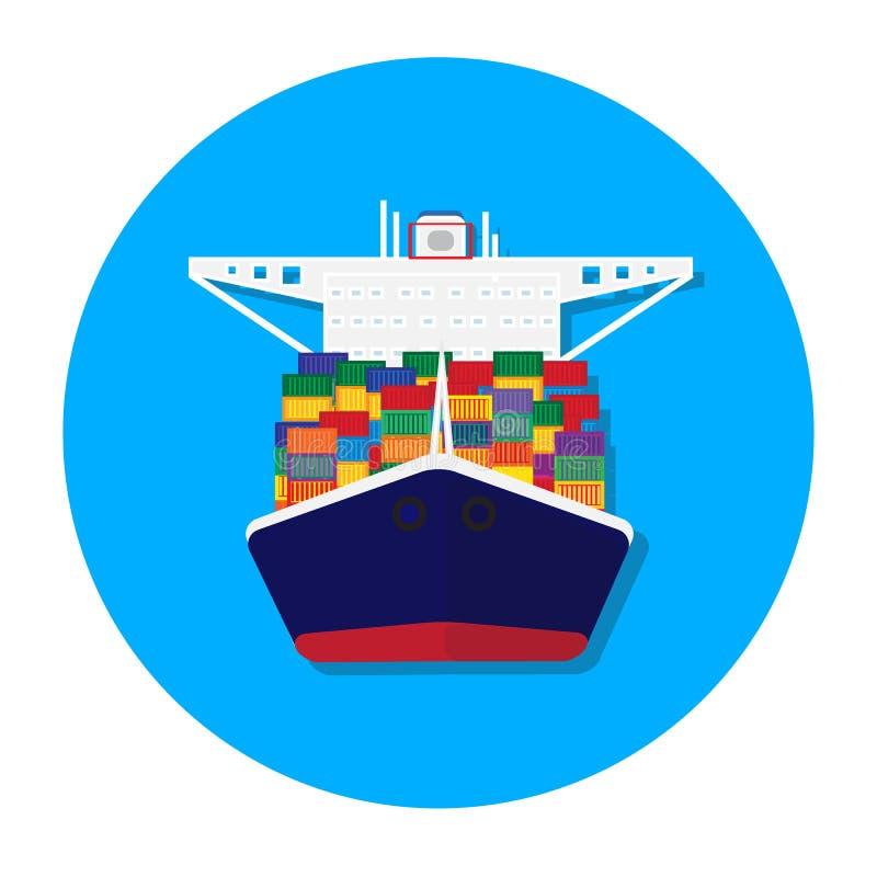 Cargo ship vector. Cargo container transporting ship trailer vector illustration royalty free illustration