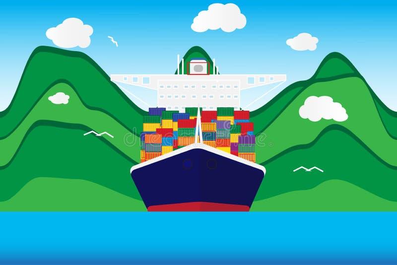 Cargo ship vector. Cargo container transporting ship trailer vector illustration vector illustration