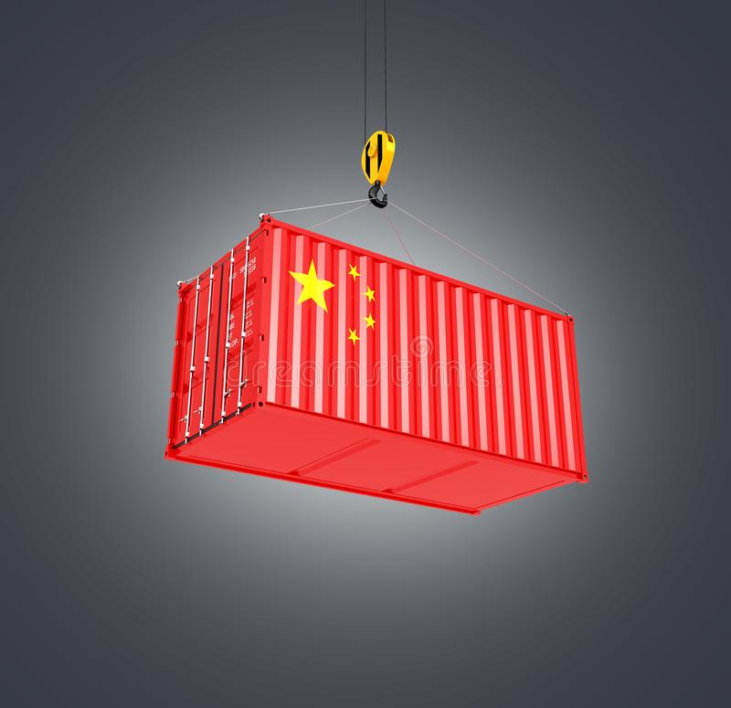 Cargo shipping container with the Chinese flag Ð¡oncept of delivery from China on black gradient background 3d stock illustration