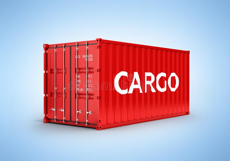Cargo shipping container with an inscription cargo on blue gradient background 3d stock illustration